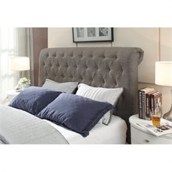 Modus Geneva Tufted Sleigh Headboard in Gray