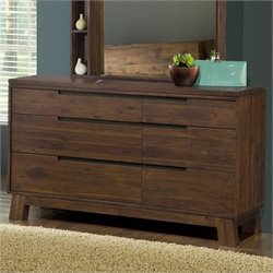 Modus Portland Dresser and Mirror Set in Medium Walnut