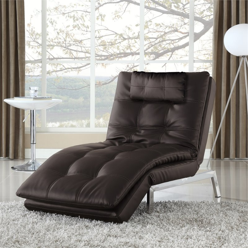 Serta Alexa Leather Chaise Lounge In Java Sc Val S7l15 Jv