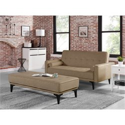 Relaxalounger Joy Convertible Sofa with Ottoman in Medium Brown