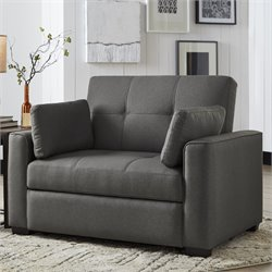 Serta Gunny Twin Size Dream Convertible Sofa in Gray