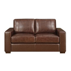 Lifestyle Solutions Savion Leather Loveseat in Java