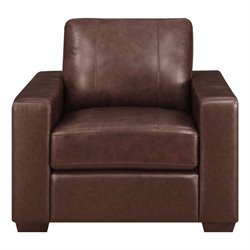 Lifestyle Solutions Savion Leather Upholstered Accent Chair in Java