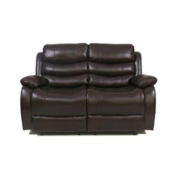 Relaxalounger Pegut Leather Reclining Loveseat in Dark Walnut