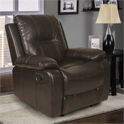 Relaxalounger Fortnea Leather Glider Recliner in Dark Brown