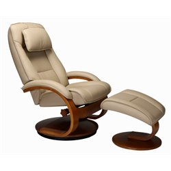 Mac Motion Oslo Leather Swivel Recliner and Ottoman in Cobblestone