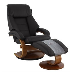 Mac Motion Oslo Leather Swivel Recliner in Espresso and Walnut