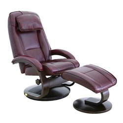 Mac Motion Oslo Leather Swivel Recliner with Ottoman in Merlot