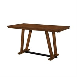 Coaster Avalon Pub Table with Architectural Base in Dark Amber