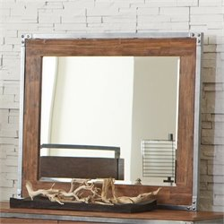 Coaster Arcadia Pewter Coated Metal Mirror in Weathered Acacia
