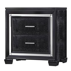 Coaster Zimmer 2 Drawer Rhinestone Hardware Nightstand in Black