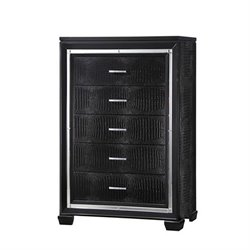 Coaster Zimmer 5 Drawer Rhinestone Hardware Chest in Black