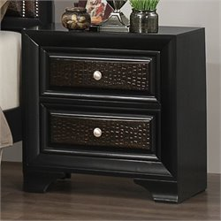 Coaster Delano 2 Drawer Nightstand in Rubbed Black