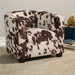 Coaster Dillon Cowhide Look Fabric Kids Chair in Brown and White