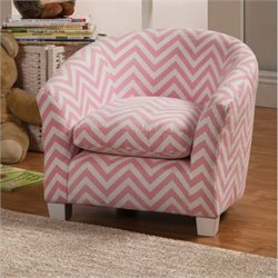 Coaster Upholstered Kids Chair in Pink and White