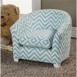 Coaster Upholstered Kids Chair in Blue and White