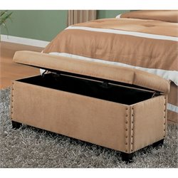 Coaster Lewis Storage Bedroom Bench in Tan