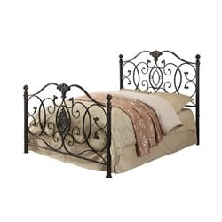 Coaster Gianna Metal Bed with Headboard in Black Brush Gold