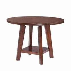 Coaster Byron Round 1 Shelf Dining Table in Dark Brown