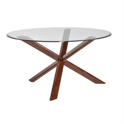 Coaster Barett Round Glass Top Dining Table in Medium Brown