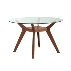 Coaster Paxton Round Glass Top Dining Table in Nutmeg