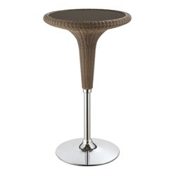 Coaster Rattan Pub Table in Dark Brown and Chrome