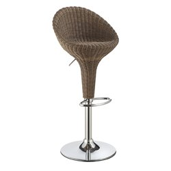 Coaster Adjustable Bar Stool in Dark Brown and Chrome