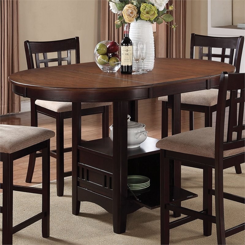 Coaster Lavon Pub Table With Storage Base In Light Oak And