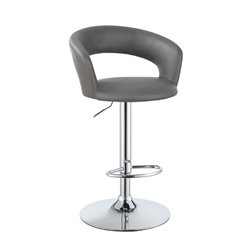 Coaster Adjustable Bar Stool in Gray and Chrome