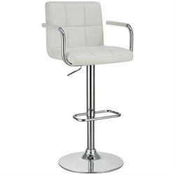 Coaster Adjustable Bar Stool in White