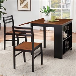 Coaster Persia 3 Piece Dining Set in Walnut and Black