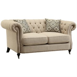 Coaster Trivellato Button Tufted Loveseat in Oatmeal