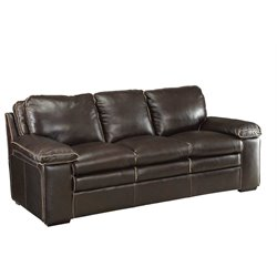 Coaster Regalvale Leather Sofa in Two Tone Brown