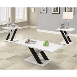 Coaster 3 Piece Coffee Table Set in White