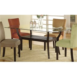 Coaster Bloomfield 1 Shelf Glass Top Dining Table in Cappuccino