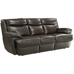 Coaster Macpherson Leather Reclining Sofa in Brown