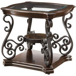 Coaster Occasional Group Glass Top End Table in Dark Brown