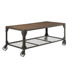 Coaster 1 Shelf Coffee Table with Casters in Red Brown