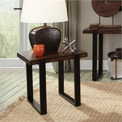 Coaster Two Tone End Table in Vintage Brown and Black