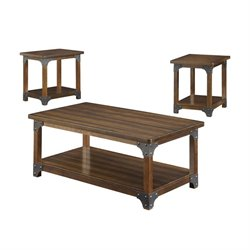 Coaster 3 Piece Coffee Table Set in Brown