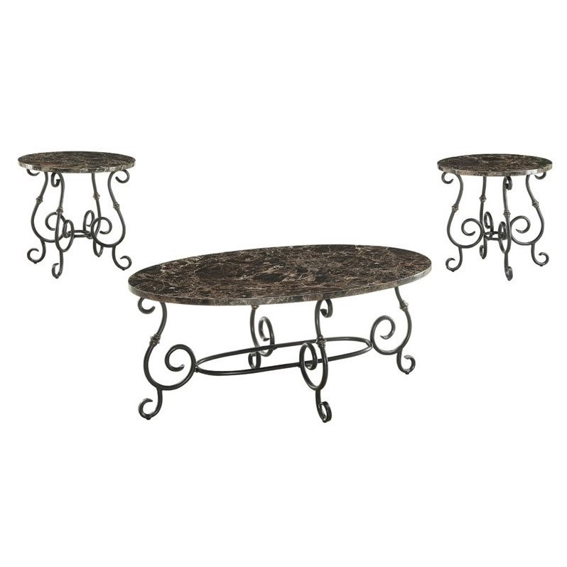 Coaster 3 Piece Faux Marble Top Coffee Table Set In Black 700187