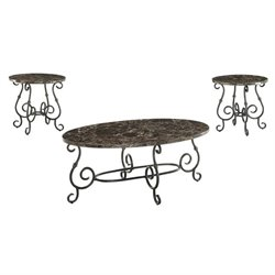 Coaster 3 Piece Faux Marble Top Coffee Table Set in Black