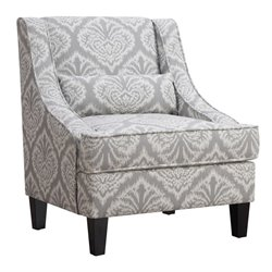 Coaster Jacquard Pattern Accent Chair in Gray and White
