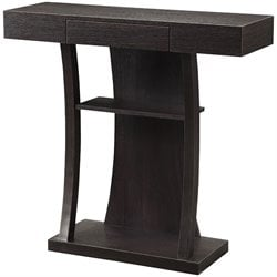 Coaster 2 Shelf T Shaped Console Table in Cappuccino