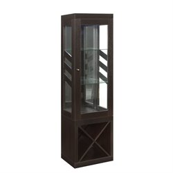 Coaster Modern Curio Cabinet with Wine Rack in Cappuccino