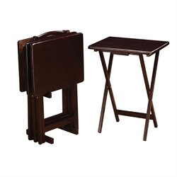 Coaster 5 Piece Tray Table Set in Cappuccino