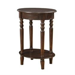 Coaster 1 Shelf Oval End Table in Merlot