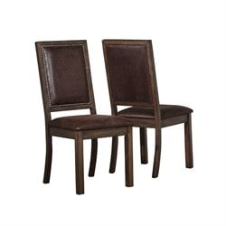 Coaster Genoa Rustic Solid Wood Dining Chair in Wire Brushed Cocoa