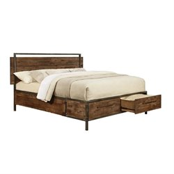 Coaster Arcadia Platform Bed with Drawers in Weathered Acacia