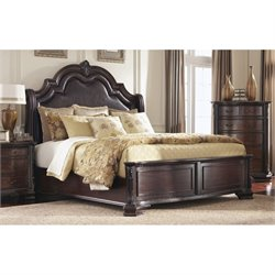 Coaster Maddison Bed with Upholstered Headboard in Brown Cherry